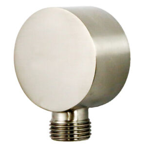 Bathroom Shower valve Round Wall Union Supply Elbow Outlet Spout Brushed Nickel