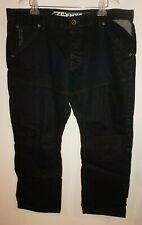 Ze'Enzo 989 Denim Black Blue Jeans Mens Sz 42x29 Navy Blue Dark Wash Button Fly