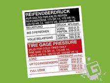 OPEL Manta B GSI GT/E Reifenüberdruck Reifendruck Aufkleber 205/60 VR 15 & mehr