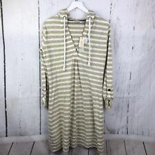 Natural Reflections Slub Hoodie Striped Dress New Women Sz M Tan White