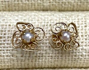 14kt Solid Yellow Gold Vintage Real Pearl Earrings Jewelry 0.58 gram #F289