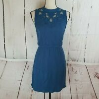 Fun 2 Fun Dress Women's Sz M Sleeveless Blue Tie Back A-Line Elastic Waist
