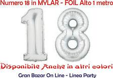 PALLONCINO Mylar Foil 18 NUMERO FESTA COMPLEANNO Colore Argento 1 metro altezza