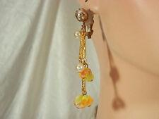 XX Pretty Vintage 50s Repousse Yellow & Orange Givre Glass Dangle Earrings 1029H