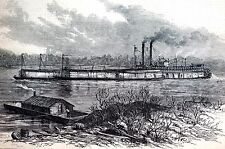 Tugboat on Mississippi River 1878 Towing TOW GRAY'S IRON LINE CLAD Antique Print