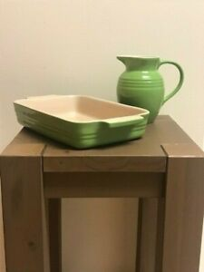 Le Creuset stoneware rectangular casserole baking dish and small pitcher NICE!