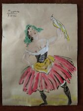 PABLO PICASSO      DRAWING WATERCOLOR ON VINTAGE WALLPAPER OF THE 40s
