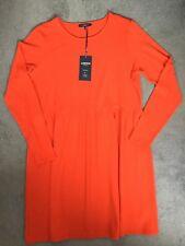 M&S ARANCIO BRILLANTE Dress & Maniche lunghe, scollo rotondo & raccolto in vita - 16 NUOVO CON ETICHETTA