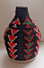 MOROCCAN BERBER HANDWOVEN WOOL  MULTI COLOUR LIDDED STORAGE  BASKET