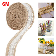 6M Trims Tape Rustic Wedding Party Natural Jute Burlap Hessian Ribbon with Lace