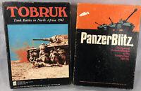 Vintage 1970 Panzer Blitz & 1975 Tobruk World War II Board Games Avalon Hill