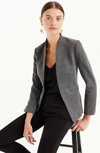 J.Crew Jacket Womens Size 2 Gray Going Out Blazer Stretch Twill Open Front NWT