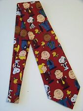 Vintage Burgundy Peanuts Charlie Brown and Gang  Happiness Is A Cool Tie