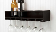 Wine Rack Wall Mounted Shelf With 6 Glass Storage Hanger 21 Inch Black Holder