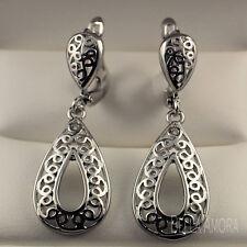 Pretty 925 Sterling Silver Pltd Filigree Dangle Drop Earrings New -UK 126