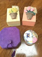 SET OF 4 TRINKET BOXES - WOOD , PAPER AND CERAMIC- NICE LITTLE THINGS