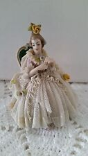 "Dresden Porcelain: 4"" x 3"" x 2.75"" FEMALE DANCER IN ORNATE DRESS   150204017"