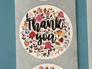 Thank you stickers labels round 25mm- flowers -Business Wedding Gift Craft