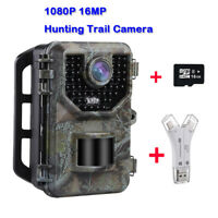 16GB 16MP Trail & Game Hunting Camera 120°Angle IP66 Waterproof + SD Card Reader