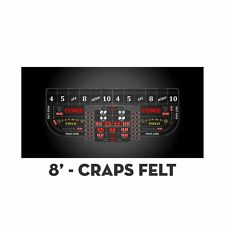 2 Professional Craps Black Digital 8' Table Layout Felt & Water Stain Resistant