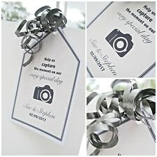 5 x Personalised wedding favour tags for disposable camera capture the moment