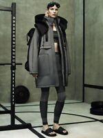 ALEXANDER WANG X H&M Grey Black Neoprene Parka Coat Sz US 2