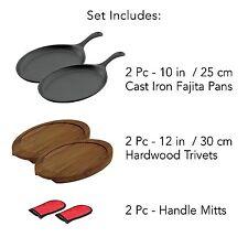 Seasoned Oven Safe Cast Iron Fajita Steak Pan Skillet Hot Plate Set