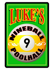 PERSONALIZED METAL SIGN YOUR NAME BILLIARDS CUSTOM SIGN DURABLE FULL COLOR