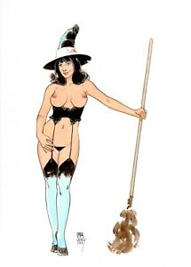 Sexy Witch fantasy pin up original color  art  by Paradis