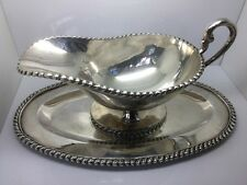 STERLING SILVER GRAVY BOAT WITH MATCHING ATTACHED TRAY MADE IN MEXICO!