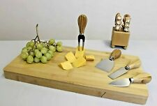 Large Bamboo Cheese Board + 4 Knives Set Slide Out Drawer Food Serving Platter