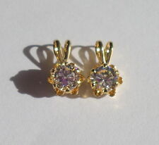 2 Vintage 22 Kt Gold Filled Small Faux CZ Pendants, Charms, Earrings 1950's Cute