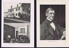RALPH WALDO EMERSON: Portrait, Home and Library- 1901 Prints