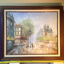 "Gorgeous large Italian Style Painting of People on Cobblestone Street 26"" x 29"""