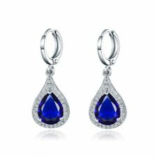 18K White Gold Sapphire Blue and white Crystal Dangle Earrings   424