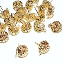 M457f Gold Filigree 10mm Dome Earstud Gold-Plated Post Earring Component 20pc