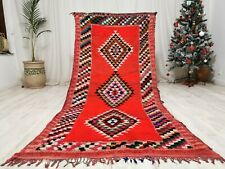 "Moroccan Colorful Handmade Rug 3'9""x8' Geometric Azilal Rug Berber Tribal Carpet"