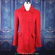 Tulle Womens S Peacoat Jacket Red Wool Blend Retro Mod Lined Above Knee Pockets