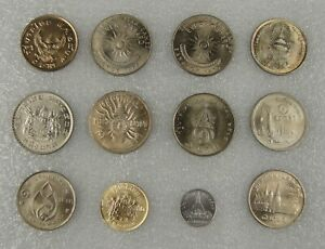 Thailand Coins 1 Baht 5 25 Satang, A Lot of 12 Pieces in Different