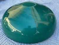 "Antique Chandelier Lamp Shade Green Jade Milk Glass 19"" Round Dome Light Fixture"