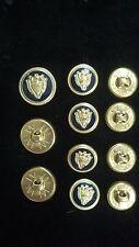 WATERBURY Men Metal BLAZER/JACKET BUTTON SET Crest SB 3&8 Gold/Navy Enamel/Epoxy