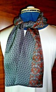 100% silk men's cravat/scarf  Liberty print pieced fabric  Black/orange 1  NEW