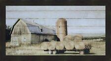 WAGON OF HAY by Lori Deiter 22x40 FRAMED PRINT Old Weathered Barn Hay Wagon Bale