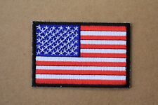 "#5097 American Flag,US Flag Black Border Embroidery Iron On Patch 3""x2"""