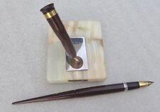 Sheaffer brown desk set fountain pen with alabaster  base lifetime model