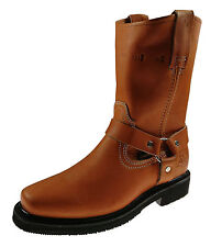 Men's Work Boots Pull On Biker Style Genuine Leather Honey Brown Black