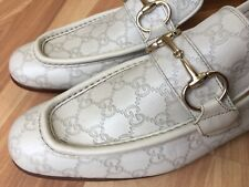 GUCCI White Horsebit GG Guccissima Tom Ford Era Loafers 147825, Sz UK 8 (9 US)