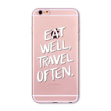 For iPhone 4S 5S SE 5C 6S 6SP Hollow Black&White Text Clear TPU Soft Case Cover