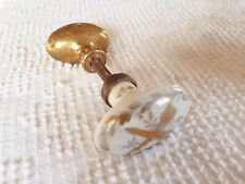 Antique Oval French Porcelain Brass Door Knob Handle Ornate