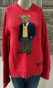 Vintage Ralph Lauren Polo Bear Sweater 2001 Kanye West Red XL Hand Knit cashmere